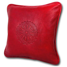 Mina Design Lederkissen Leder Kissen rot Sitzkissen Zierkissen Sofakissen leather cussion pillow coussin en cuir