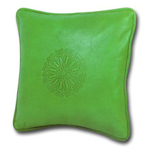 Mina Design Lederkissen Leder Kissen grün Sitzkissen Zierkissen Sofakissen leather cussion pillow coussin en cuir