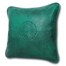 Mina Design Lederkissen Leder Kissen türkis Sitzkissen Zierkissen Sofakissen leather cussion pillow coussin en cuir