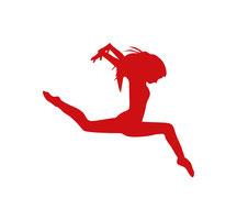 Grafik von einem springenden roten Funken in Gestalt eines Mädchens entwickelt und entworfen von Funkenflug Design Münster.