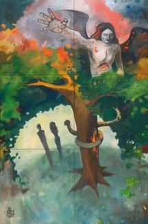 Die Versuchung im Paradies Raoul Rossmy Praelogos-Zyklus Paradies Engel Baum der Erkenntnis Paradise God Angel Satan Luzifer Lucifer Temptation