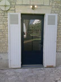 Porte en aluminium avec vitrage 6 carreaux - FMA Menuiserie Lezay