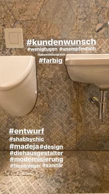 Toilettensanierung - Kundenwunsch shabby look , wenig fugen , Unempfindlichkeit