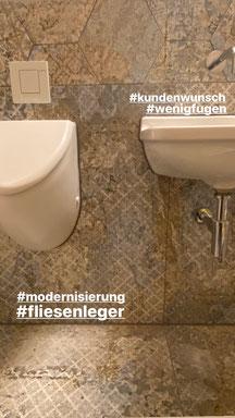 Toilettensanierung - shabby look , Großformat Fliesen und Sechseck