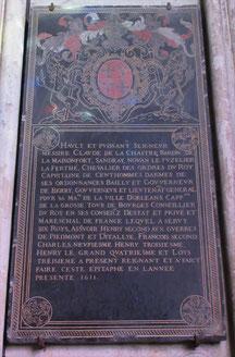 Épitaphe de Claude de la Châtre