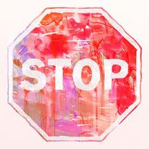 Glückliches Karma durch Handlung in Liebe. Aufhören, bevor du neuen Stress verbreitest durch wütende Handlungen.
