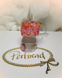 Finger Schmuck Belles petites fleurs Crystal orange-rosa