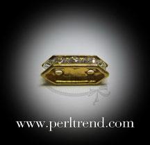 Abstandhalter goldfarben 2 Löcher Swarovski Crystal