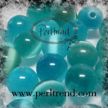 Katzenaugen-Perlen Türkisblau