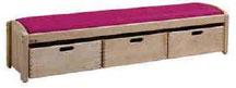 Banc simple avec casier, mobilier pour petite enfance, assistantes maternelles, RAM à acheter pas cher. Banc simple avec casier de qualité pour l'aménagement des espaces petite enfance.