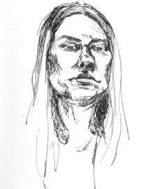 Zeichnung, Sketch, Drawing, Selbstportrait, Jaqueline Kastenholz