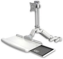 ポールマウント 支柱取付 ガススプリング内蔵 昇降式 ディスプレイキーボード用ワークステーションアーム :ASUL180EV7-P2-KUB-AS1