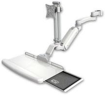 ポールマウント 支柱取付 ガススプリング内蔵 昇降式 ディスプレイキーボード用ワークステーションアーム10.5インチ(約27cm)の延長アーム付 :ASUL180IEV7-P15-KUB-A1