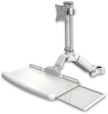 ポールマウント 支柱取付 ガススプリング内蔵 昇降式 ディスプレイキーボード用ワークステーションアーム:ASUL180EV7-P17-KUB
