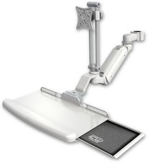 ポールマウント 支柱取付 ガススプリング内蔵 昇降式 ディスプレイキーボード用ワークステーションアーム :ASUL180IEV7-P15-KUB