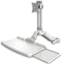 ポールマウント 支柱取付 ガススプリング内蔵 昇降式 ディスプレイキーボード用ワークステーションアーム :ASUL180EV7-P2-KUB