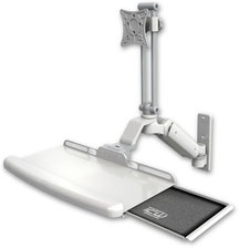 ウォールマウント 壁面固定 ガススプリング内蔵 昇降式 ディスプレイキーボード用ワークステーションアーム:ASUL180EV7-W3-KUB
