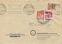 Postkrieg SBZ - Saarland mit Zusatzfrankatur zur Vermeidung von Nachgebühr