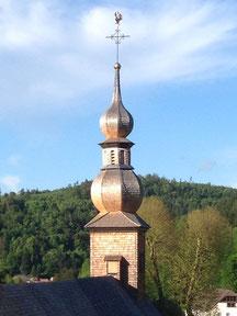 """Le campanile surmontée de son Coq d'Or"""" église des verriers rose de cristal lettenbach saint-quirin verrerie"""