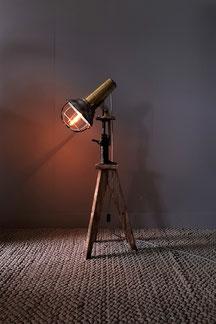 exklusive stehlampe aus holz dreibein wagenheber und schiffslampe in gold inkl. led