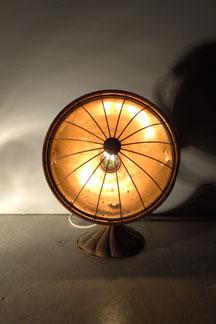 vintage design tischlampe aus kupfer und messing in gold und braun