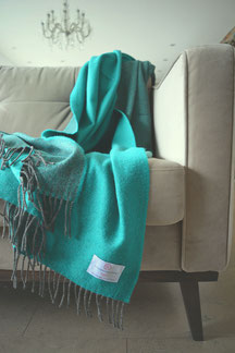 Lambswool Cosy Reversible - Turquoise Green - S. Fischbacher Living