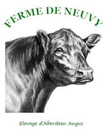 logo la ferme de neuvy élevage vache aberdeen angus vente directe dans le cher