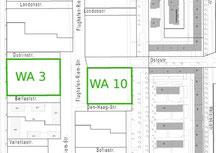 Lage im 4. Baubschnitt in Riem: WA3 und WA10