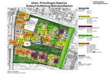 Plan ehemalige Prinz-Eugen-Kaserne Entwurf Aufteilung der Wohnbauflächen (Kitas eingezeichnet)
