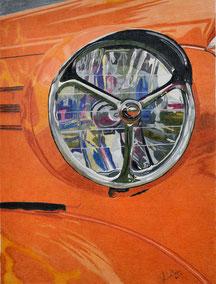 Dessin crayons de couleur gros plan phare chevrolet deluxe coupé 1938. Orange