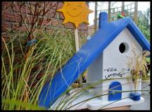 Houten nestkastjes - Grieks stijl. blauw-wit, pindakaas pot houder, zon, naam