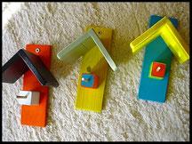 Pindakaas pot houders, kleur  trio, blauw, geel, oranje, zwart