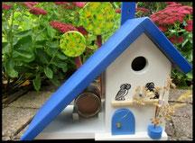 Houten nestkastjes - Grieks stijl. blauw-wit, pindakaas pot houder, uilen