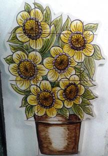 """Art.-Nr.: PN-174 """"Sonnenblumen im Topf"""", Masse: 56cm x 42cm"""