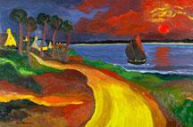 Le Golfe au crépuscule. 195x130 cm