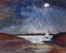Au clair de lune, le voilier solitaire