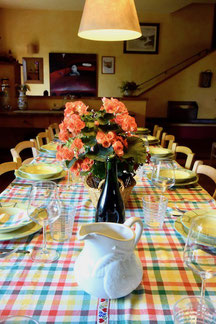 long table, settings, tovaglia a quadri, villa, Casafredda, Arezzo, Toscana, Tuscany, Italy