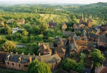 depuis la Mérelle, vol en montgolfière au dessus de Collonges, la Vallée de la Dordogne, Turenne, Rocamadour, Curemonte