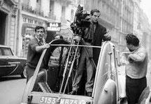 François Truffaut pendant un tournage.