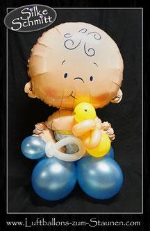Ballondeko Bubble Ballonsäule Taufe Baby boy Baby girl Junge  Mädchen Baby-Shower Babyparty Party Geburt Luftballon Ballon Geschenk Hingucker Eyecatcher exklusiv besondere