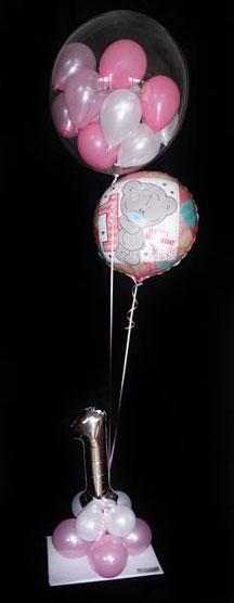 Ballondeko Bubble Ballonsäule Taufe Baby boy Baby girl Junge 1 Babyparty Party Geburt Luftballon Ballon Geschenk Hingucker Eyecatcher exklusiv