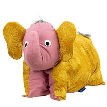 Tierkissen Elefantenkissen Elefant Kuschelkissen Brombeer Gold Curry
