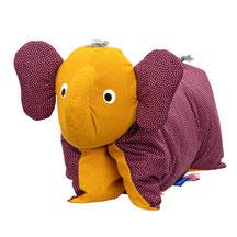 Tierkissen Elefantenkissen Elefant Kuschelkissen Brombeer Gold
