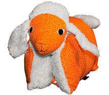 Kuscheltierkissen Teddyplüsch Lammkissen Schaf Orange