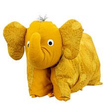 Tierkissen Elefantenkissen Elefant Kuschelkissen Gold Curry