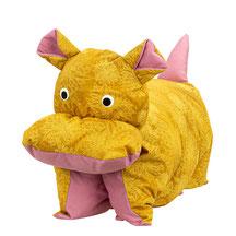 Tierkissen Kuschelkissen Nilpferdkissen Klappkissen Gold Rosé Brombeer