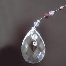 サンキャッチャーティアドロップ型オーダーメイド銀デザイン