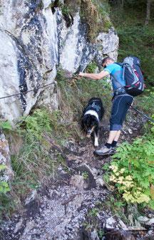Mit Hund am Berg