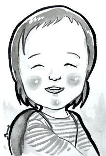 手描きのモノクロ似顔絵 子供 女の子