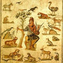 Orphée charmant (Venus Balance) les animaux. Mosaique (Musée de Parme)